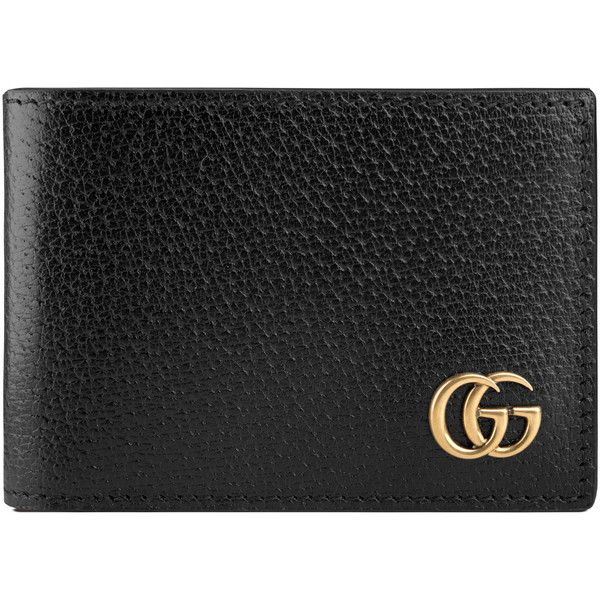 Gucci Gg Marmont Leather Bi-Fold Wallet ($330) ❤ liked on Polyvore featuring men's fashion, men's bags, men's wallets, black, mens leather wallets, mens leather credit card holder wallet, mens credit card holder wallet, mens leather bifold wallet and gucci mens wallet
