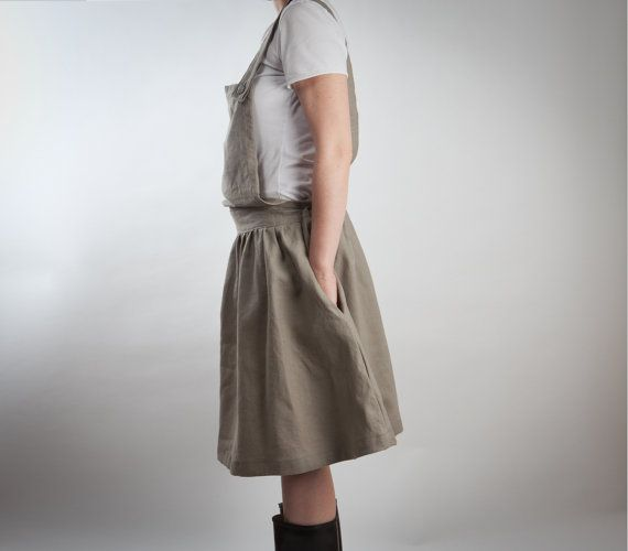 gray linen overalls dress or skirt with big pocket by LeBlusine, $106.00  Oh my goodness if this isn't the most wonderous piece of clothing ever!!! The pocket is GENIUS