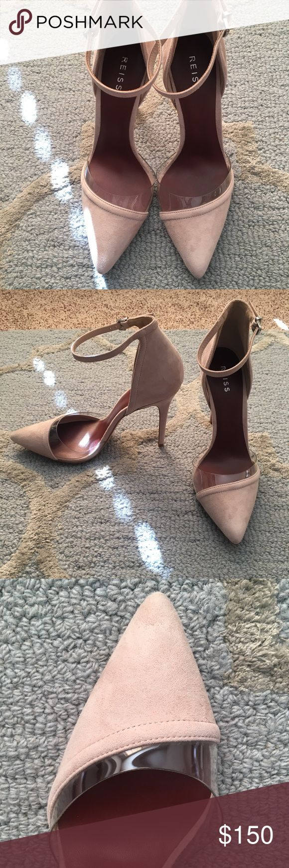 REISS nude pumps Beautiful nude pumps with see through lining on the toe point. Brand new with dustbag and box. Suede. Reiss Shoes Heels