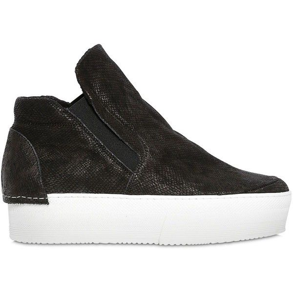 CINZIA ARAIA 50mm Embossed Leather Wedge Sneakers ($237) ❤ liked on Polyvore featuring shoes, sneakers, black, kohl shoes, genuine leather shoes, black trainers, wedge sneakers and black wedge trainers