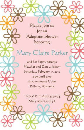 young girl Adoption Baby Shower Party Invitations