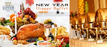 #Welcome the #New #Year with a #Smashing #Party! #Feast on a #Delicious New Year's Eve Dinner Buffet with #Roasted #Turkey + Unlimited #Sparkling #Drinks + #Juices + #Music & #Dance + New Year #Gifts for 149 AED at Lotus Hotel, #Marina.  To check/buy the #deal, click on the below link http://www.kobonaty.com/deal/lotus-hotel-apartments/1678/