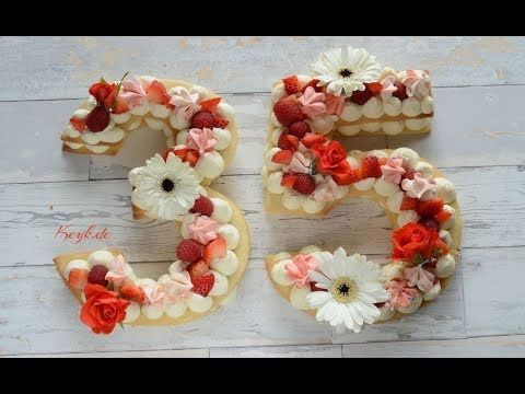 Cream Biscuit Tart Inspired Number Cake Tutorial