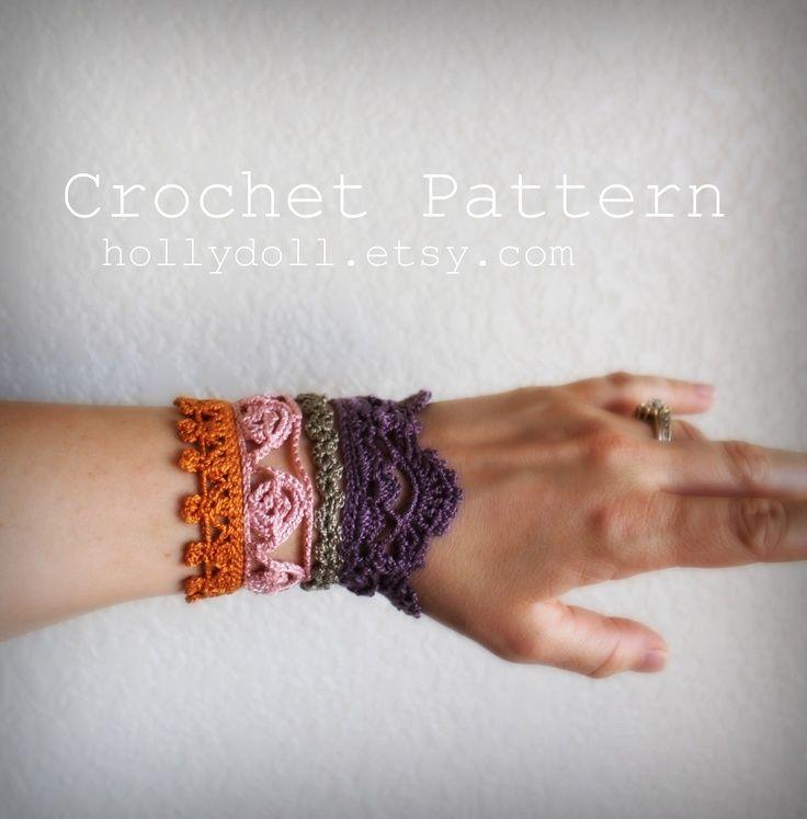 "crochet bracelet pattern | PDF Crochet pattern- ""plethora"" antique lace cuff bracelet. $5.00, via ..."