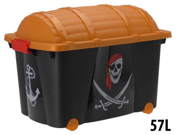 Een stoere opbergbox in de vorm van een schatkist, met daarop een afbeelding in het thema piraat.