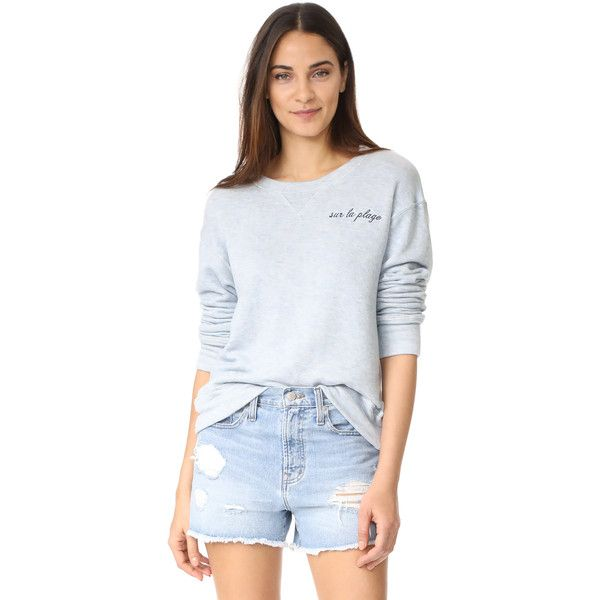 The Lady & The Sailor Sur La Plage Sweatshirt (231 AUD) ❤ liked on Polyvore featuring tops, hoodies, sweatshirts, long sleeve sweatshirts, long sleeve tops, slouchy sweatshirt, stitch sweatshirt and slouchy tops