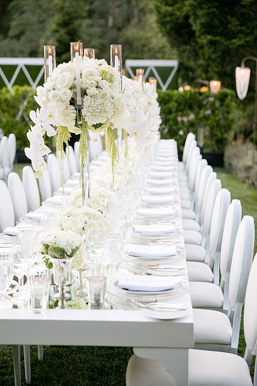 Modern Vineyard Wedding in Napa Valley, Diossy and Chas, White Reception Tables with Tall Centerpieces
