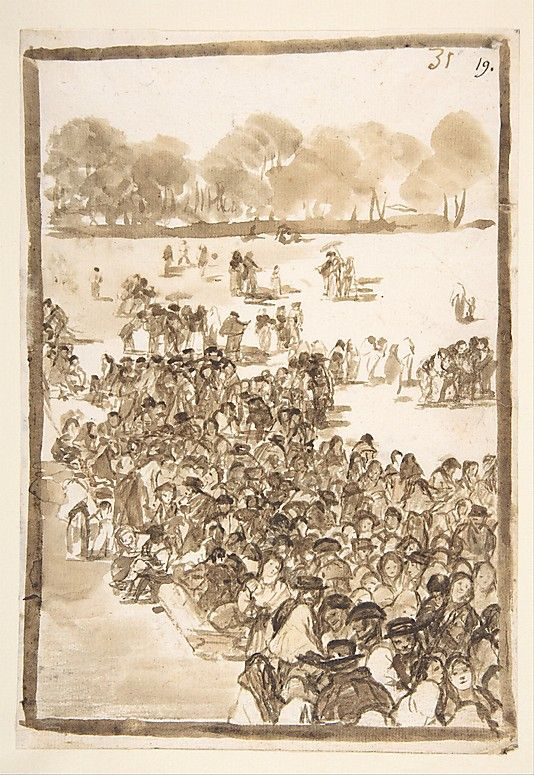 *Crowd in a Park, from Images of Spain Album (F), page 31* Goya (Francisco de Goya y Lucientes)  (Spanish, Fuendetodos 1746–1828 Bordeaux)