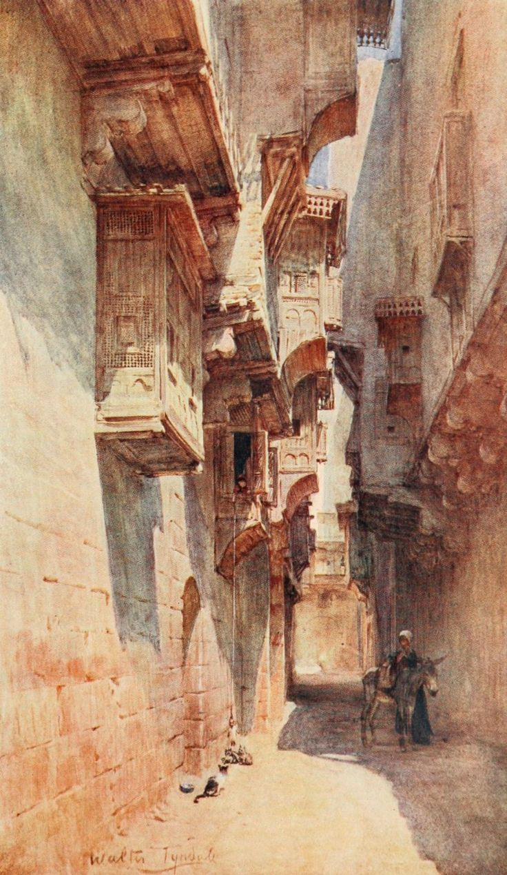 Tyndale, Walter (1855-1943) - Below the Cataracts 1907, A lane in the Tulun quarter in Cairo. #egypt