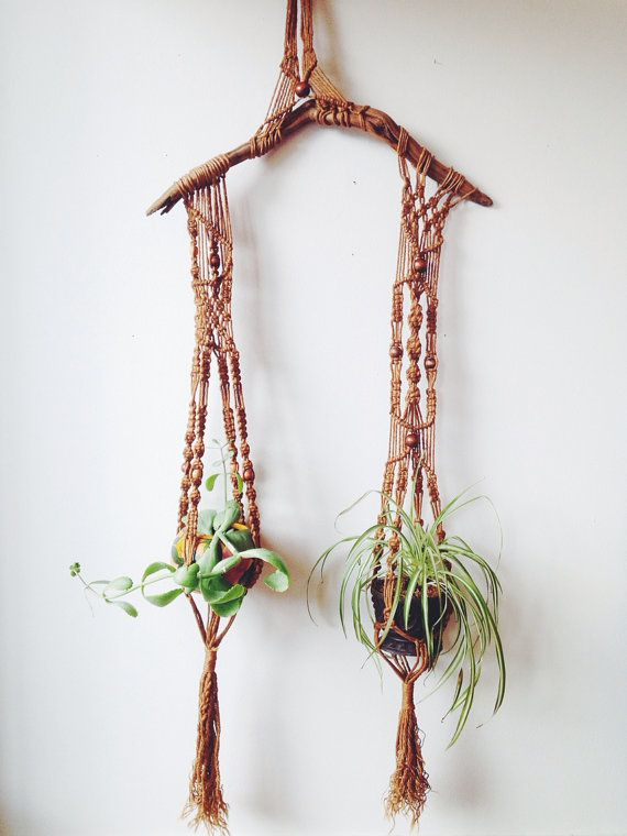 Giant Vintage Macrame and Driftwood Hanging Planter  by ethanollie