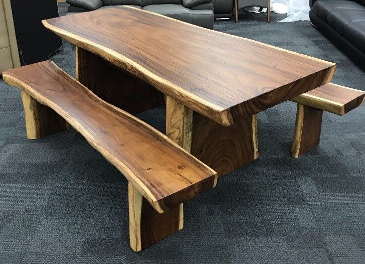 Solid Teak Timber Dining Table With Solid Teak Timber Bench Seats