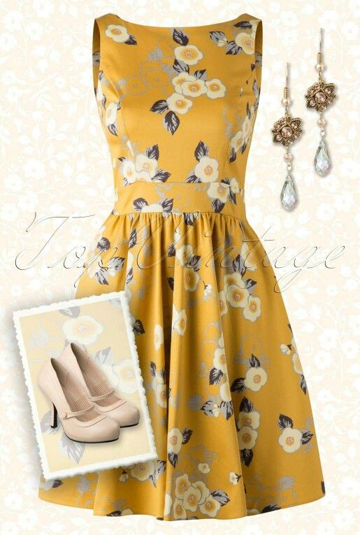50s Floral Tea Dress in Yellow by Lady Vintage