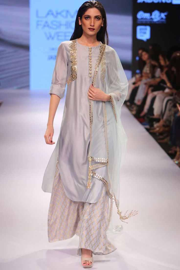 Powder blue embroidered kurta with Benarasi ankle length palazzo pants available only at Pernia's Pop Up Shop.