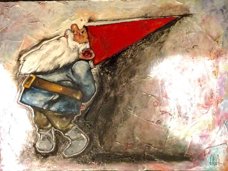 David le gnome par AGA artiste peintre . Inspiration d'une œuvre de Rien Poortvliet. Acrylique sur toile.