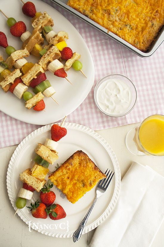Breakfast for Dinner! How about a Bacon-Sausage Pancake Casserole and some Waffle Fruit Kabobs? Recipe at nancy-c.com #Krusteaz #breakfastnight #breakfastfordinner #breakfast #brunch