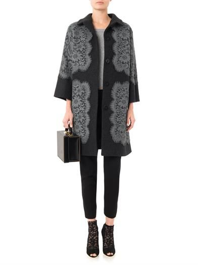 Dolce & Gabbana Lace appliqué wool coat