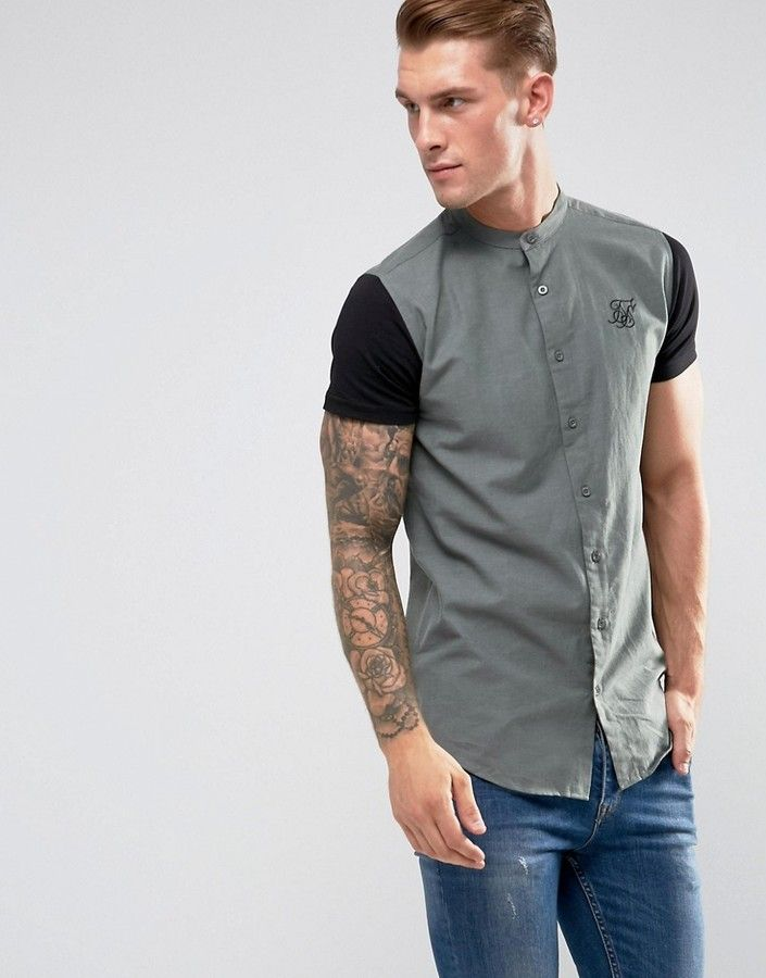 SikSilk Muscle Shirt In Khaki With Jersey Sleeves