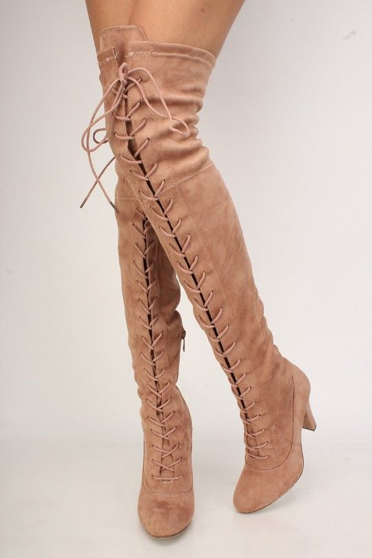 749f4a842c1 Sexy Dusty Pink Front Lace Up Round Pointy Toe Single Sole Thigh High Heel Boots  Faux Suede