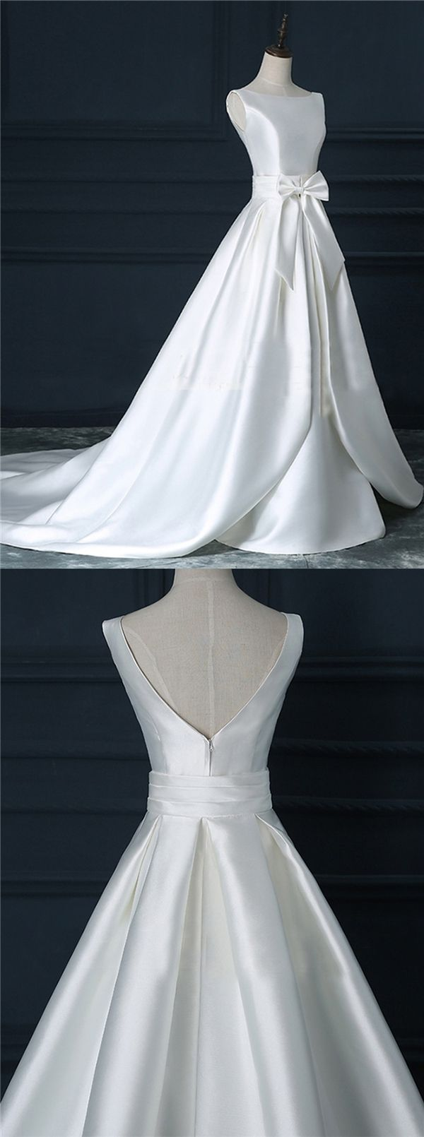It doesn't have to have lace to be beautiful. Satin white super elegant wedding gown...wow!!!