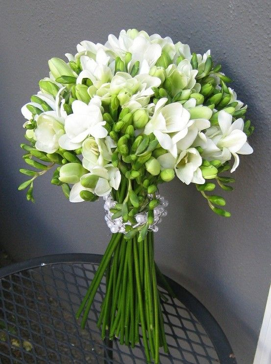 Freesia is available year-round from flower farms in California and is STUNNING when used in bouquets and arrangements of wedding flowers. Whether as the primary flower in a bouquet (as pictured) or as a complimentary flower, Freesia is fantastic!: Wedding Ideas, Wedding Bouquets, Freesia Bouquet, Wedding Flowers, White Freesia