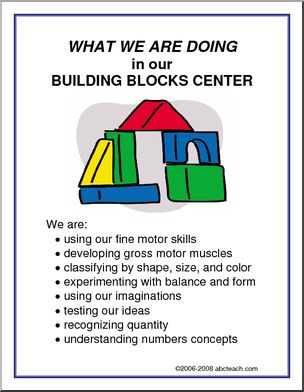 What We Are Doing Sign: Building Blocks Center -