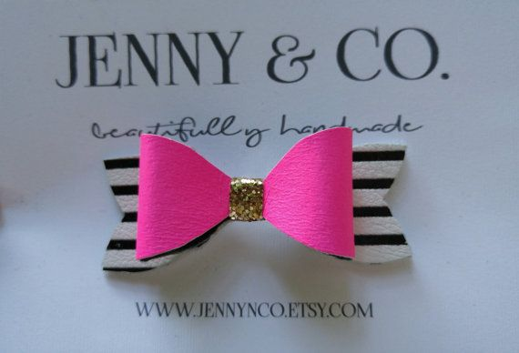 Leather hair bows glitter hair bows by JENNYNCO on Etsy