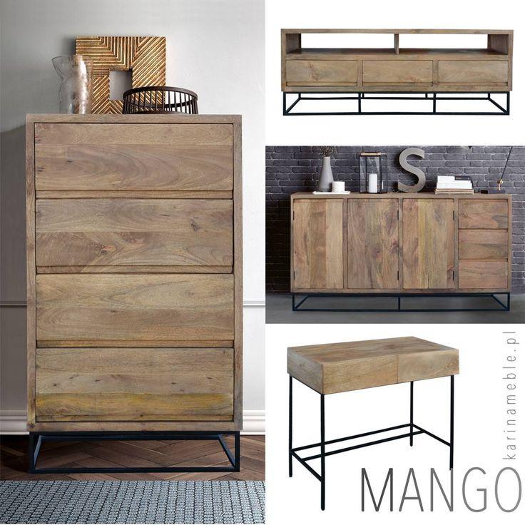 """Meble z kolekcji """"Mango"""" są zrobione z litego drewna i metal w czarnym kolorze, zachwycają przede wszystkim prostotą i funkcjonalnością. Ich ponadczasowy kształt odnajdzie się zarówno w surowym lofcie jak i w klasycznym salonie. Jasne drewno naturalnie wpisze się w klimat otoczenia a w połączeniu z surową, metalową podstawą tworzy atrakcyjną dla oka, wręcz graficzną kompozycję. Polecamy do wnętrz industrialne i loftowe."""