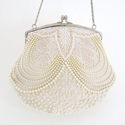 Moyna Beaded Pearl Bridal Purse ~ unique beaded pearl bridal handbag with ivory pearls. Pearls & lace -> perfect!  Find your bridal style at Perfect Details.
