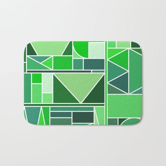 Kaku Green Bath Mat by Fimbis | Society6  #homedecor #interiordesign #fashion #style #coloroftheyear #bathroom #colouroftheyear #geometric