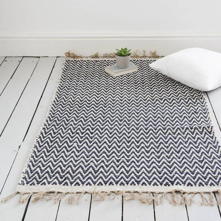 Jord Home Olea design in striking geometric indigo blue. Handcrafted on a wooden loom. Flatweave - so the design in the same on both sides.Pure Natural Cotton90cm x 150cm