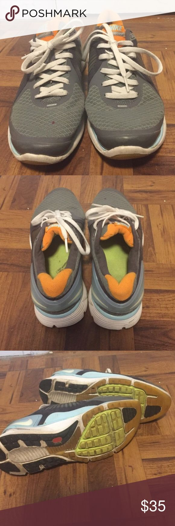 💗LAST CHANCE💗Nike Grey, Blue, & Orange Sneakers In good condition. Great for working out! Nike Shoes
