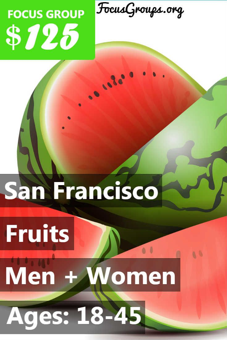 GET PAID $125 FOR A FOCUS GROUP IN Walnut Creek! Do you eat Fruit and are interested in giving your opinions ? Here at Q A Focus Suites we are looking for Women and Men between the ages of 18-45 years old to participate in a paid focus group in Walnut Creek on July 20, 2017 on the topic of Fruit. For your awesome opinions and time you will be rewarded a $125 for 90 minutes of your time. If you are interested in participating, please sign up and take the survey to see if you qualify!