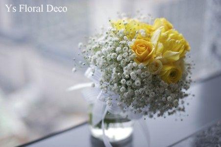 黄色のバラとかすみ草のブーケ ys floral deco