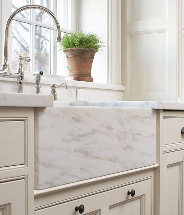 marble apron front sink