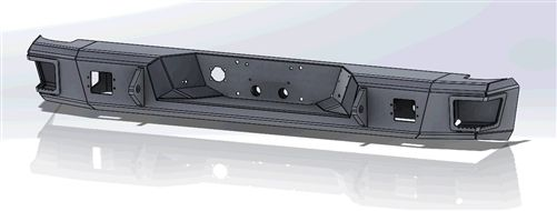 Hammerhead Bumpers - Hammerhead DALL-03_08-RFL Rear Bumper without Sensors and Square Light Holes Dodge RAM 1500/2500/3500 2003-2008
