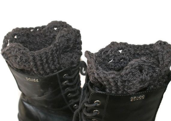 SALE XL Boot Cuffs Crochet Boot Toppers Black Leg by lanacooper, $22.95