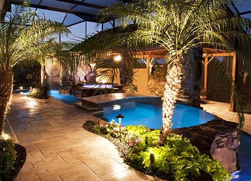 Florida Swimming Pool Design - Stone Waterfalls - Outdoor Kitchen