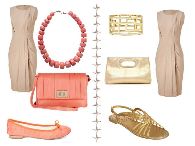 Beige dress with color accessories