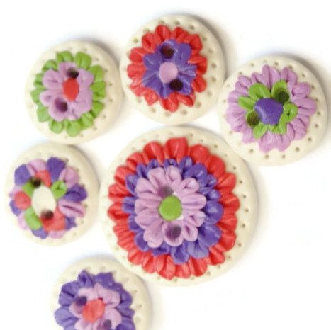 Rainbow  Flowers button  cream flowers post button for sale summer jewelry red rose - pinned by pin4etsy.com