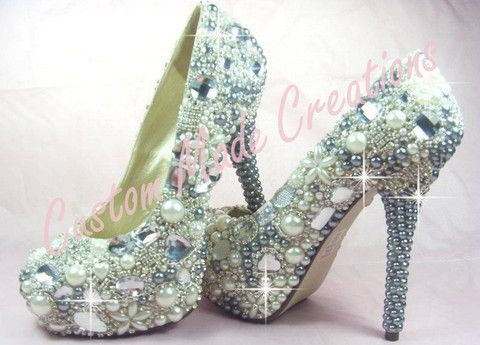 Shown in a 5 inch heel pump style shoe with platinum & white pearls