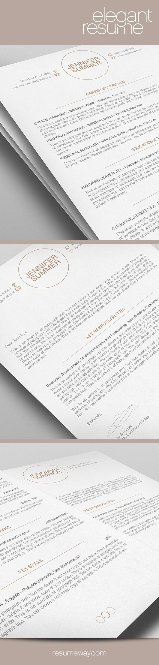 Elegant Resume Template - Premium line of Resume & Cover Letter Templates. Easy edit with MS Word, Apple Pages - CV, CurriculumVitae - $7.95