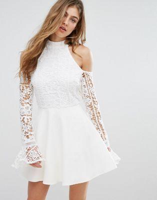 Missguided Lace Cold Shoulder Skater Dress