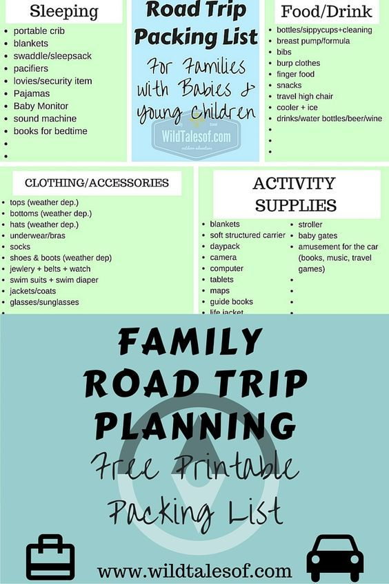 Road Trip Packing List For Families With Babies And Young