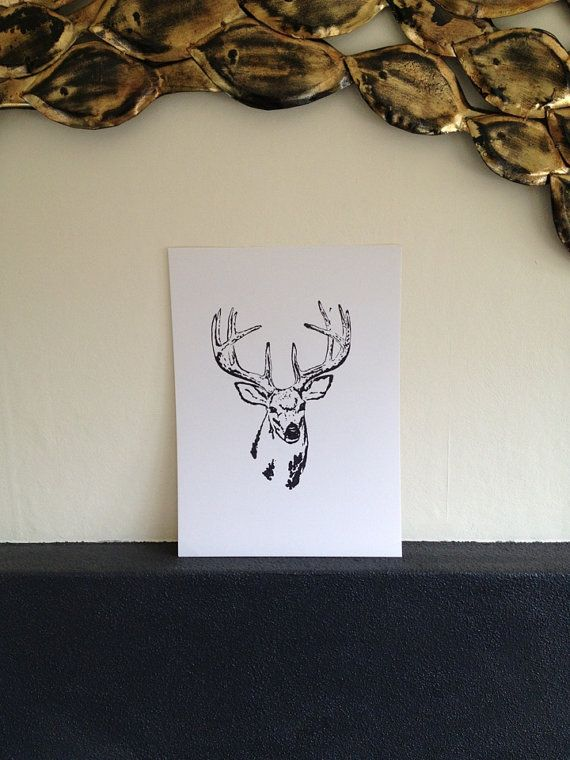 Deer Black A3 Stencil Art Painting by ArieleArt on Etsy, $30.00