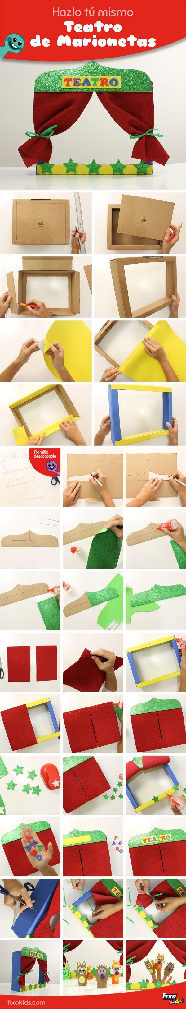 Diviértete con este tutorial para hacer un teatro de títeres. Sólo tendras que buscar una caja de cartón y utilizar materiales de manualidades como goma eva de colores   #ManualidadesFixoKids #VideoTutorial #Manualidades