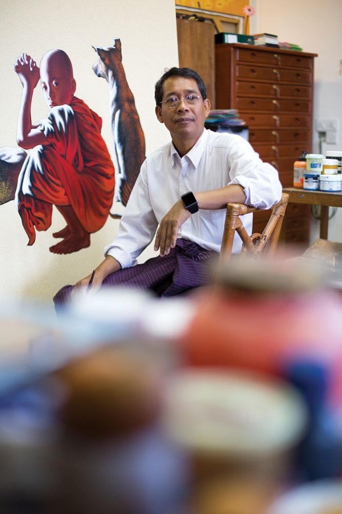 """Monk expert"" Min Wae Aung in his studio at the New Treasure Art Gallery."