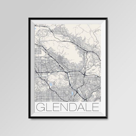 Glendale map, California, Glendale print, Glendale poster, Glendale map art, Glendale city maps, Glendale Minimal Wall Art, Glendale Office Home Décor, black and white custom maps, personalized maps