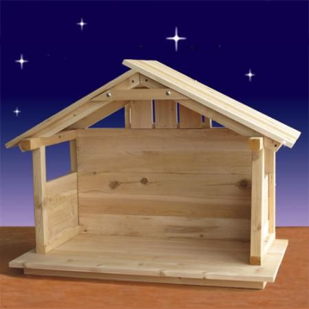 White Cedar Stable  http://www.christmasnightinc.com/Cedar-Nativity-Stable-30H-p1059.html#