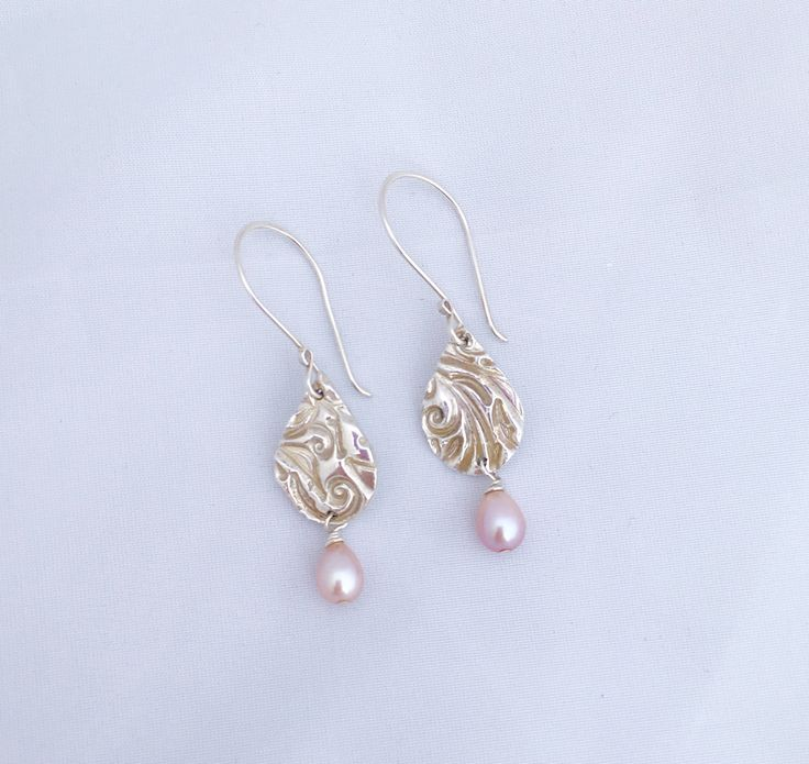 Fine Silver Teardrops and Blush Pink Pearl Drop Earrings by NuitNuitDesigns on Etsy https://www.etsy.com/uk/listing/537716279/fine-silver-teardrops-and-blush-pink