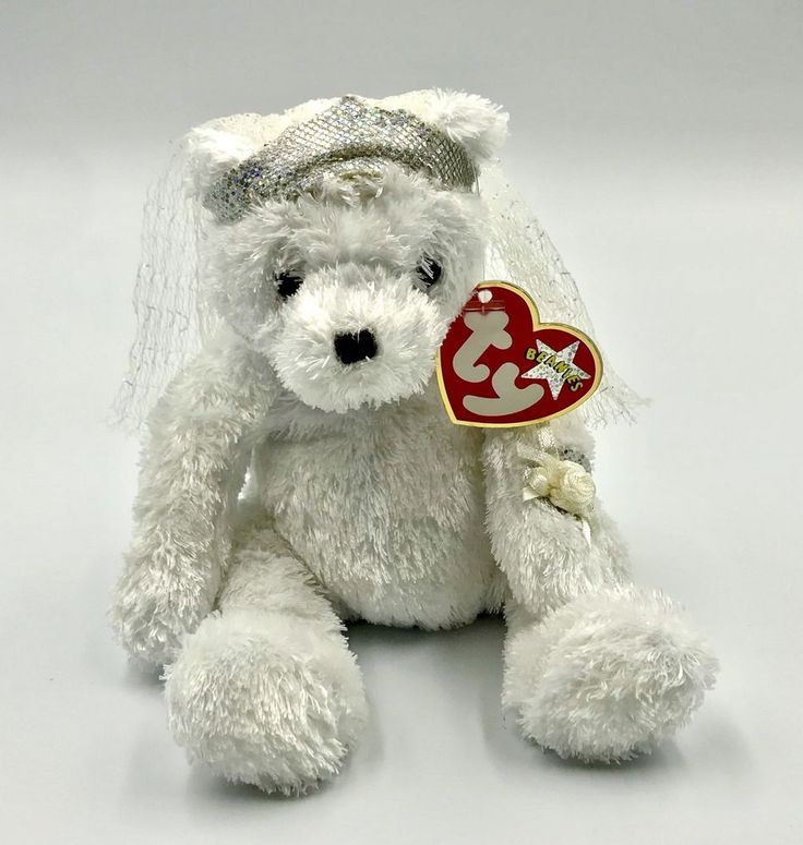 ty beanie babies collection bride teddy plush soft toy kids wedding white tagged